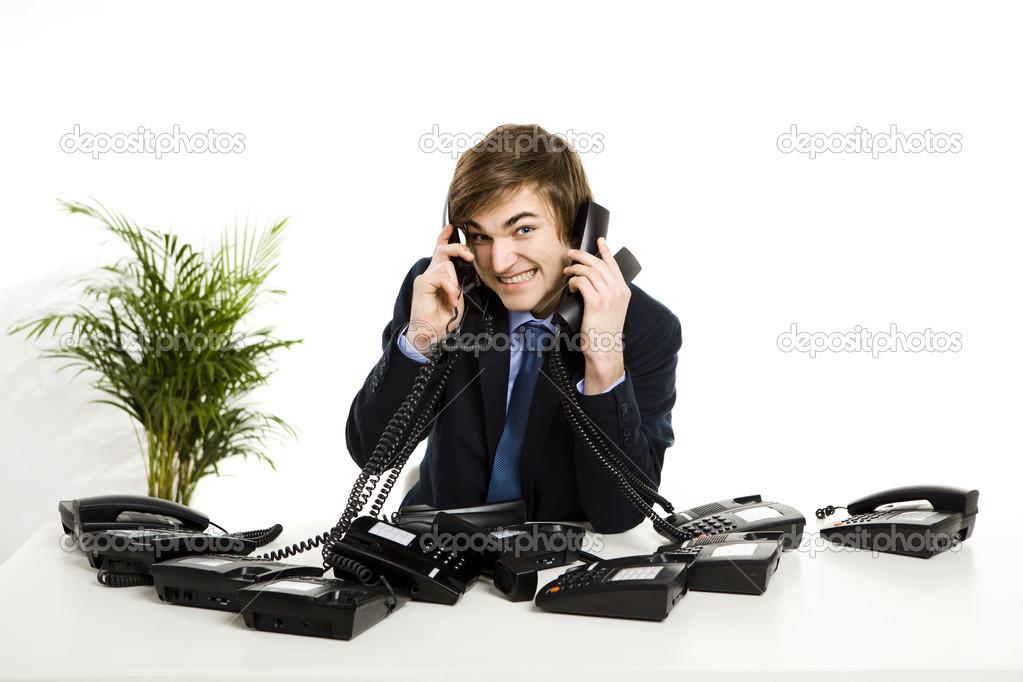 Atender várias chamadas ao mesmo tempo — Fotografia de Stock
