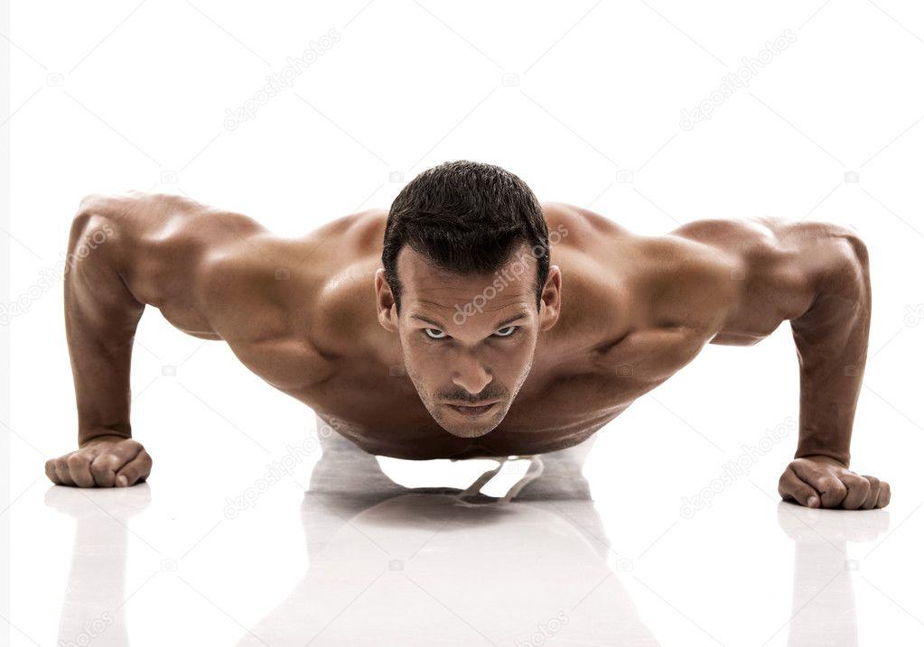 Muscle man dmaking push ups
