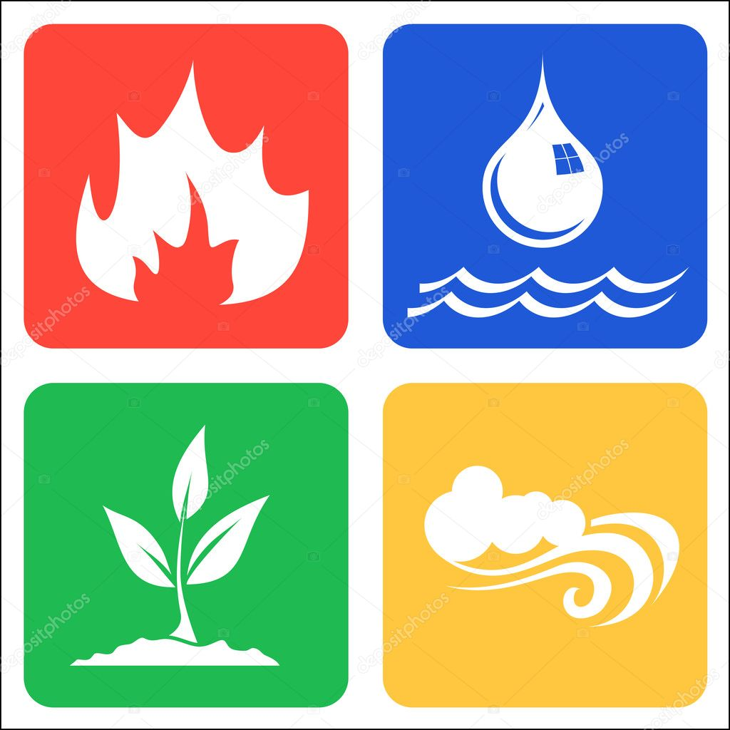 Icons for Earth, Air, Fire and Water.