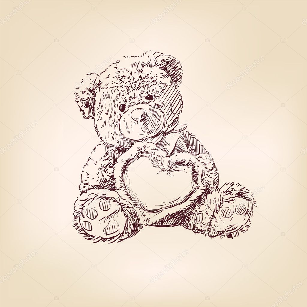 Ilustración del oso de peluche con corazón — Archivo Imágenes ...