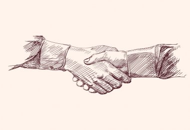 Handshake - hand drawn vector illustration isolated clip art vector