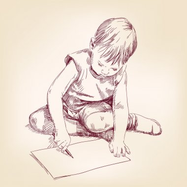 Boy draws on the floor