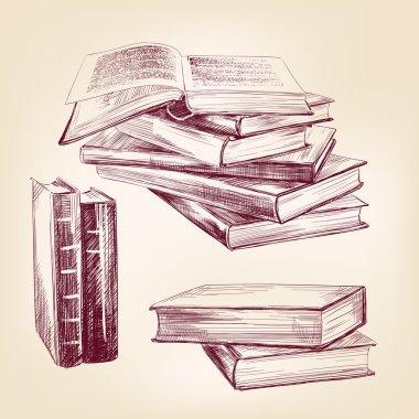 Vintage old books hand drawn set