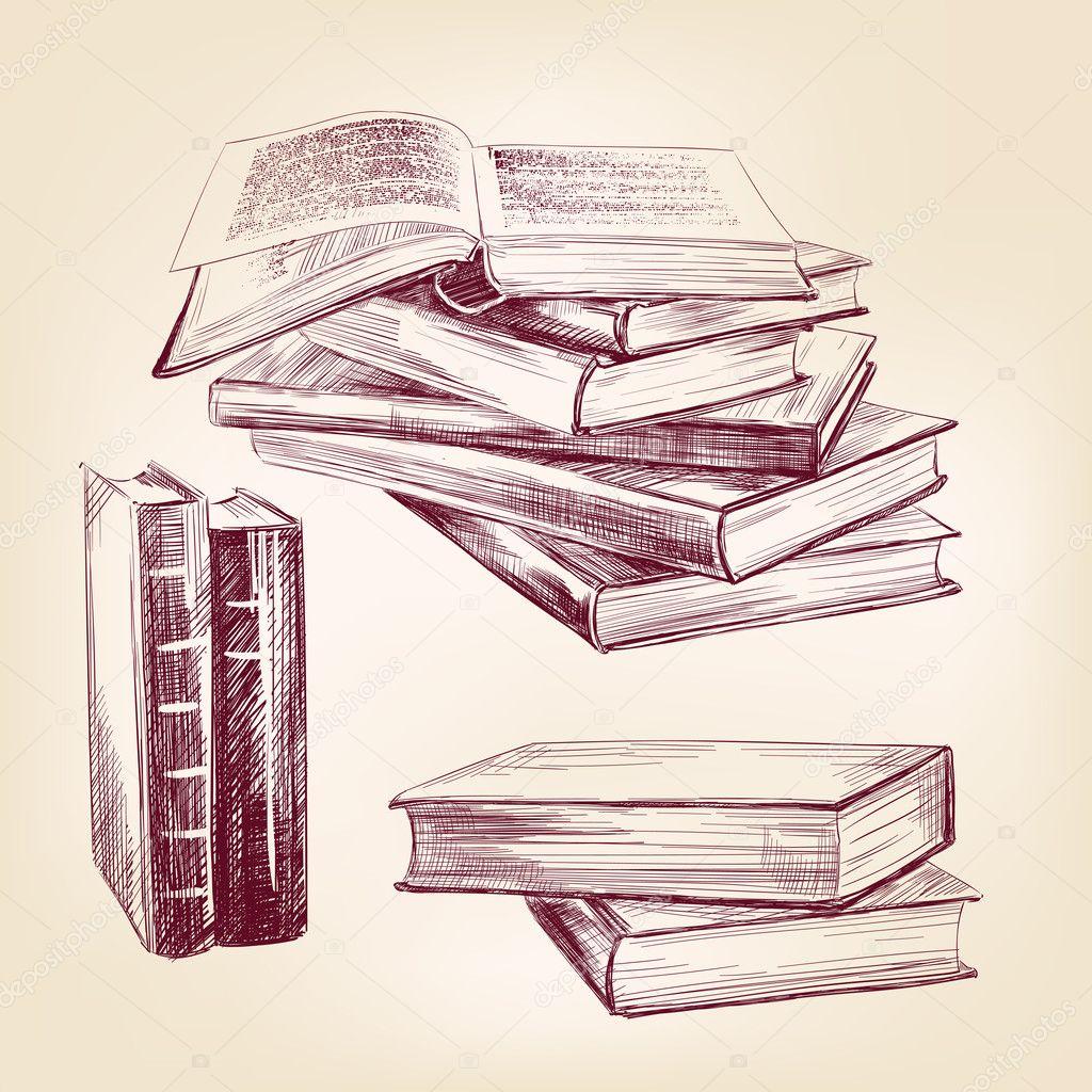 Bücherstapel gezeichnet  alte Bücher hand gezeichnete Satz — Stockvektor #26568637
