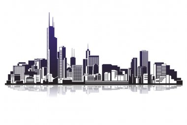 City silhouettes vector illustration icon stock vector
