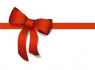 Red gift bows with ribbons. Vector Illustration.