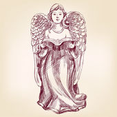 Angel hand drawn vector llustration realistic sketch