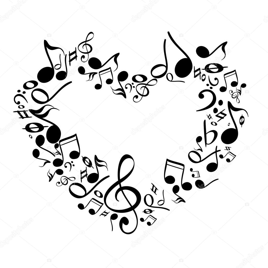 Music From Heart Sketch Vector Illustration Stock Vector