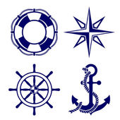 Photo Set of marine symbols Vector Illustration.