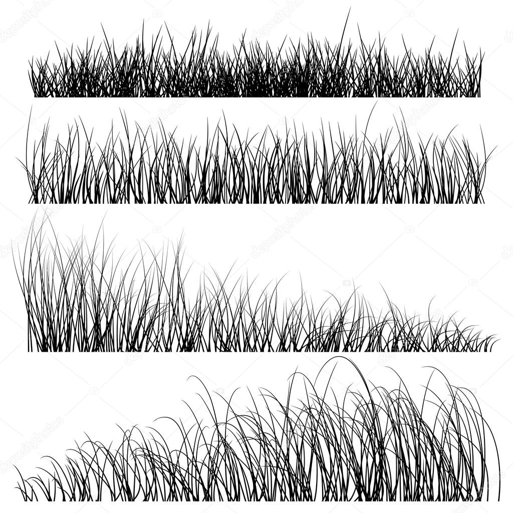 Set of vector grass silhouettes backgrounds