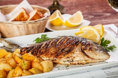 Close up of sea bream fish with potato stock vector