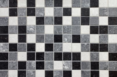 Black, white and gray mosaic tiles
