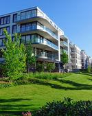 Fotografie Wohnhäuser und grünem Gras