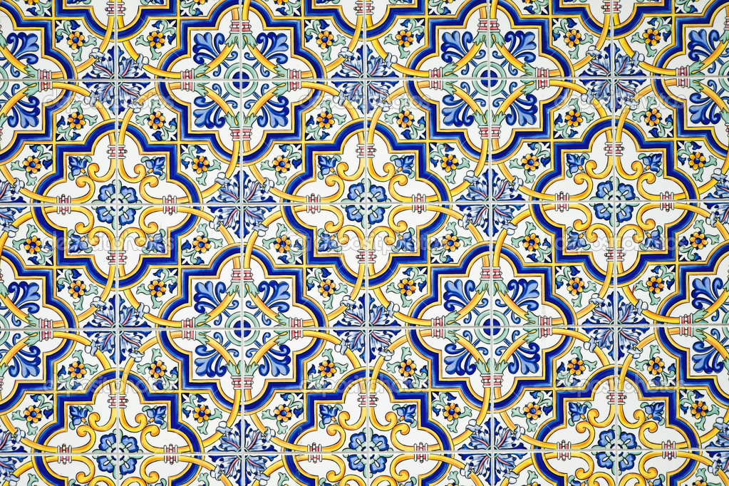Typische Andalusische Fliesen Wand Stockfoto Elxeneize - Andalusische fliesen
