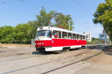 Moscow tram in the street