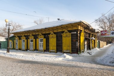 Old houses in the center of the city of Omsk. Siberia. winter