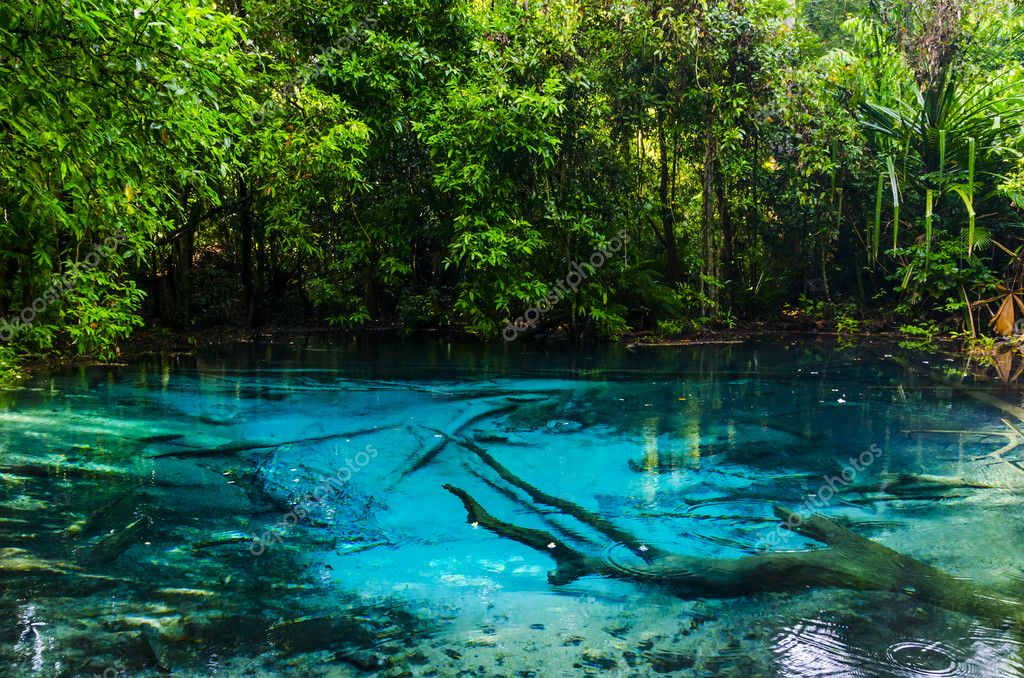 Blue Stream and lake in the jungles of Thailand