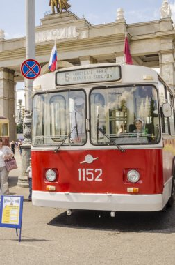 Old Soviet trolleybus at the exhibition of rare transport in Moscow