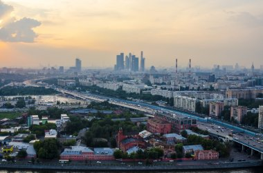 Top view of the streets and squares of Moscow from the top of a block of flats on the Sparrow Hills. Tourist panorama
