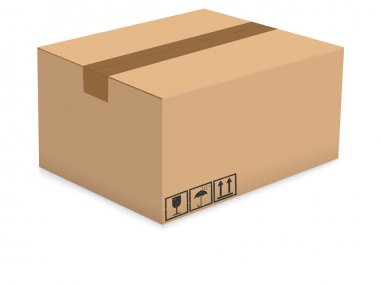Cardboard box isolated on the white background. Vector illustration. stock vector