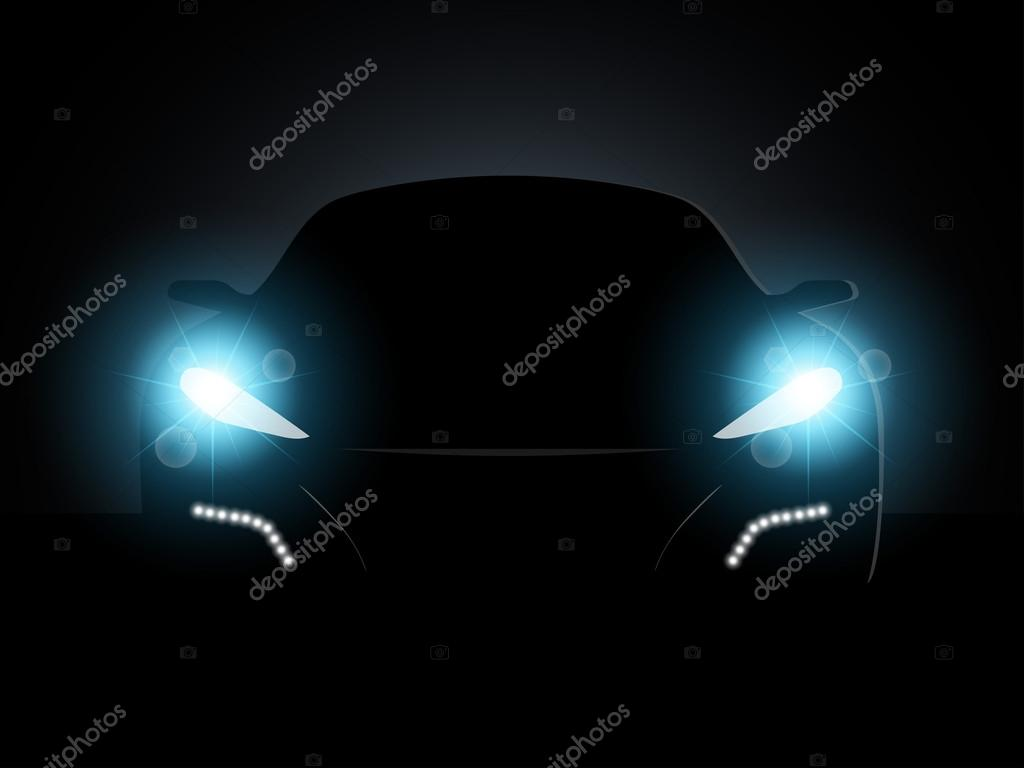 Car in the dark with the included headlights