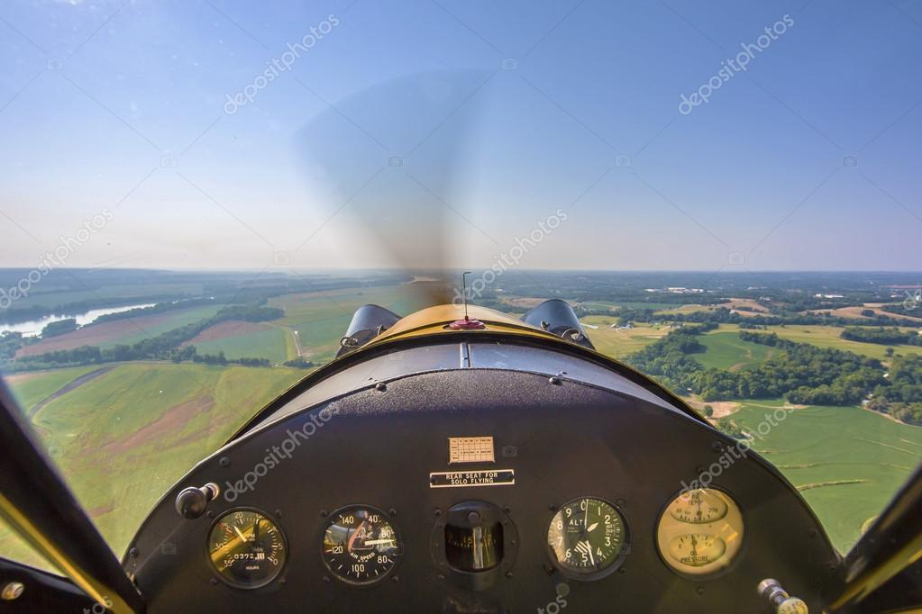 Aerial view of Missouri river from vintage aircraft cockpit
