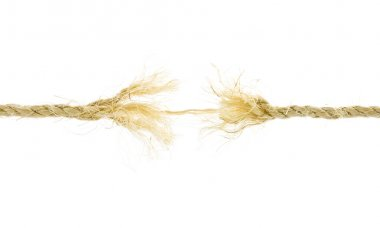 Frayed rope isolated over a white background