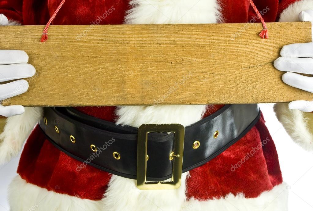 Santa Claus Con Un Cartel De Madera En Blanco
