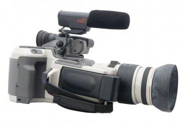 Older analog camcorder isolated on white