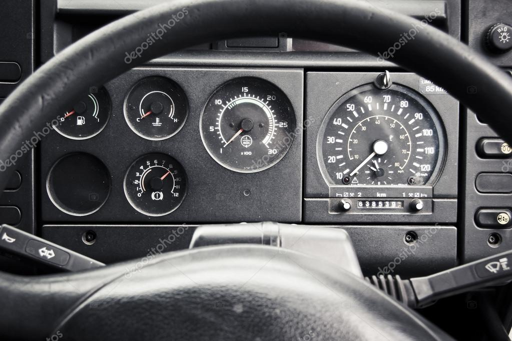 Truck dashboard through steering wheel