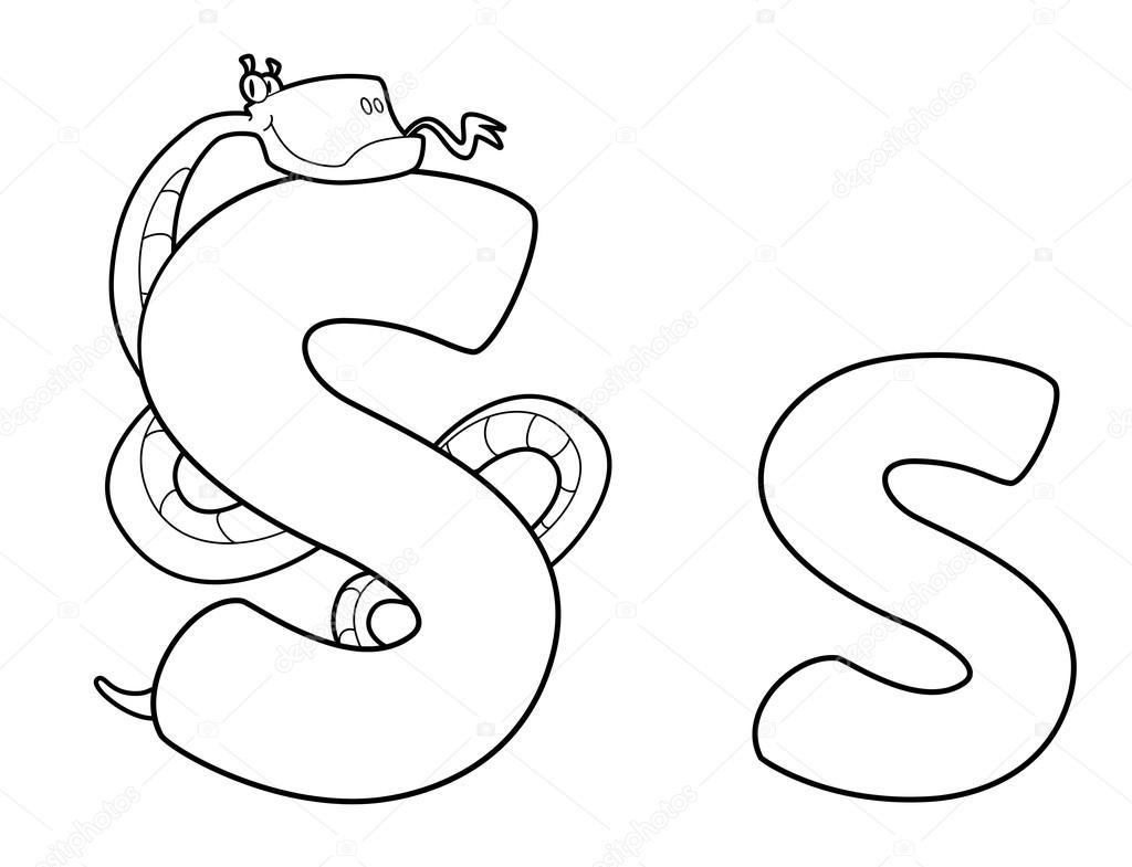 serpiente de letra s contorneado — Vector de stock © Polkan #12487784