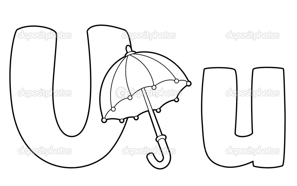 Letter U Umbrella Outlined Stock Vector C Polkan 12645091