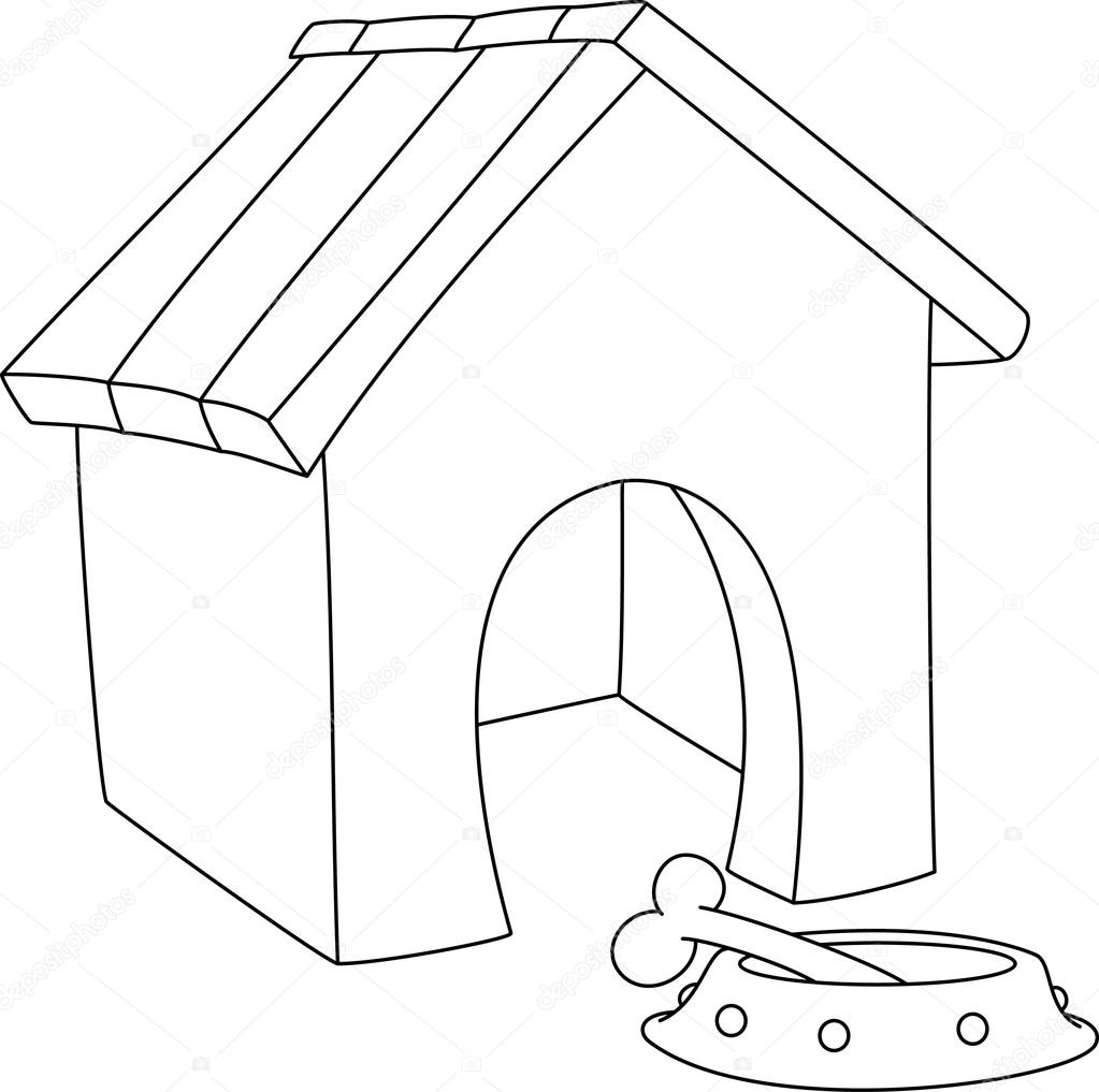 How to draw a cartoon dog house | Illustration of a dog