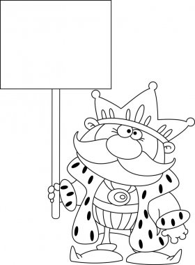 illustration of a king with blank sign outlined