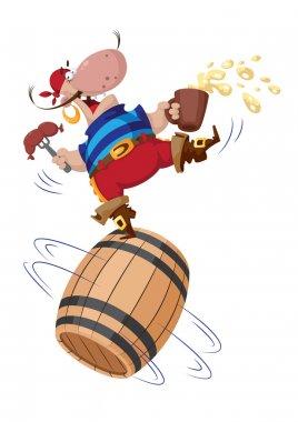 Pirate on a barrel