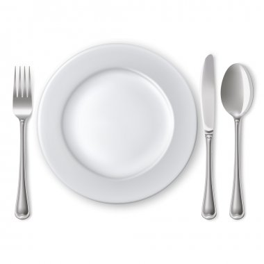 Empty plate with spoon, knife and fork on a white background. Mesh. Clipping Mask. stock vector