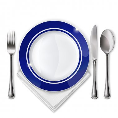 Empty plate with spoon, knife and fork on a white background. Mesh. stock vector