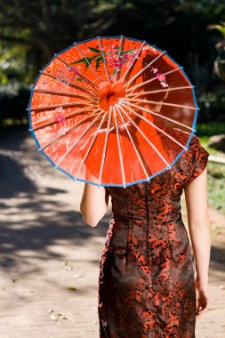 Traditional chinese beauty with umbrella