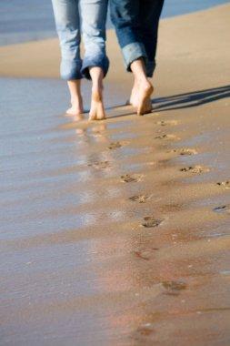 Couples footprint on beach