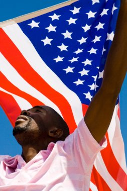 African american man with USA flag