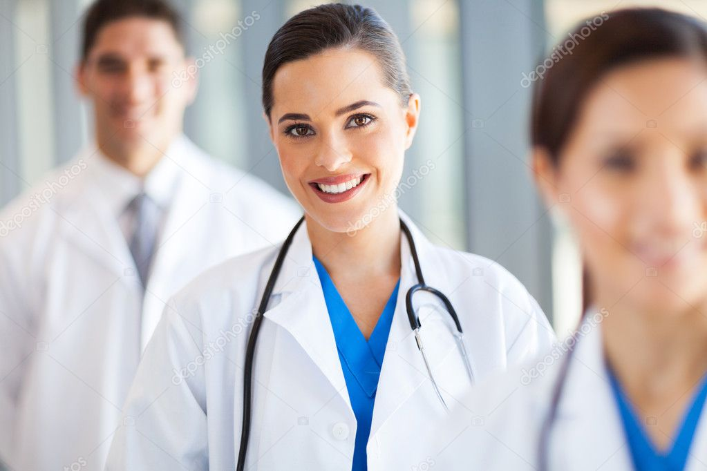Medical team group portrait in hospital
