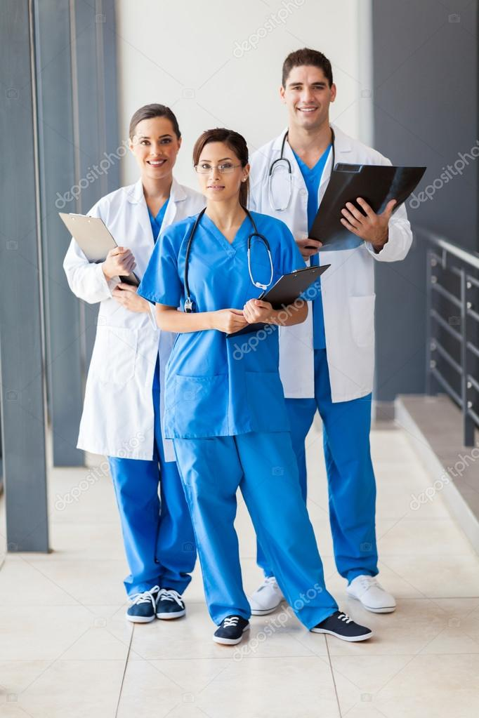 Group of healthcare workers full length portrait