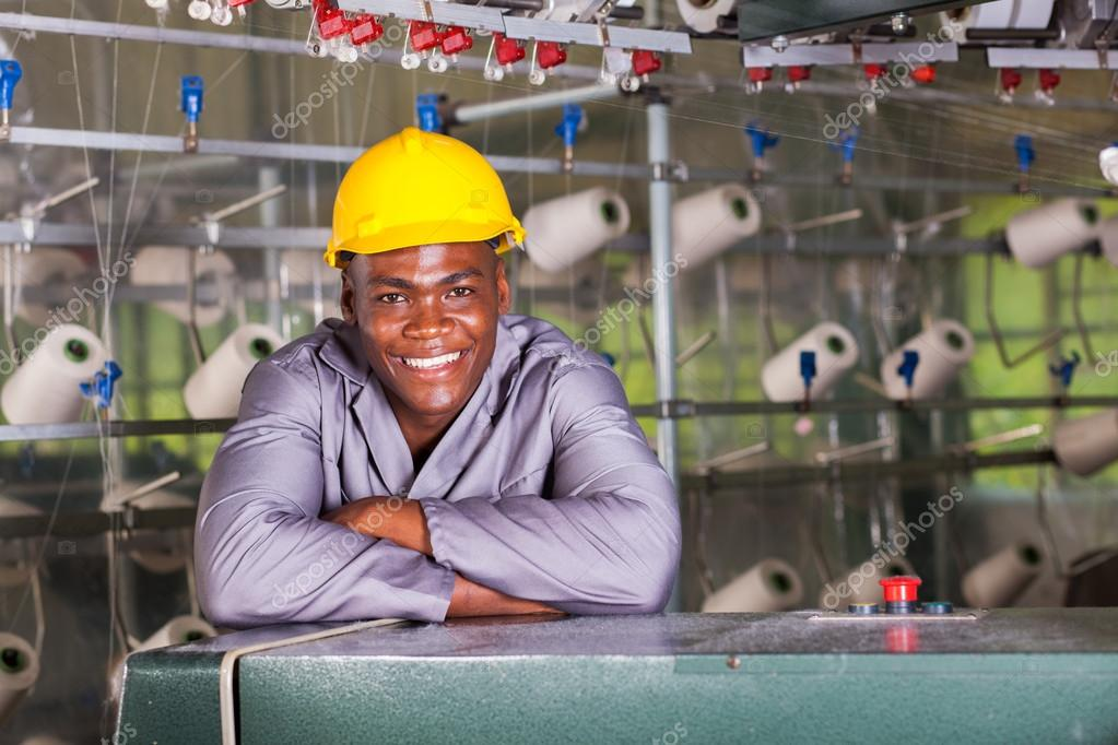 Smiling african american textile factory worker portrait