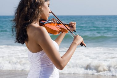 Young pretty woman playing violin on beach