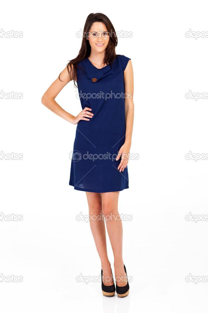 1c8673f33 mujer con vestido azul marino aislado en blanco — Fotos de Stock ...