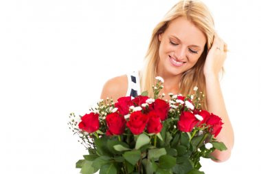 Happy young woman received bunch of roses from secret admirer