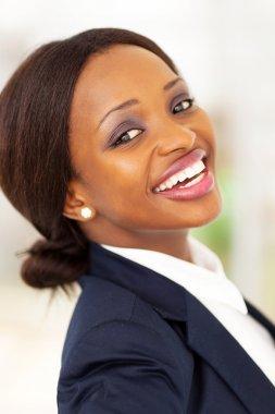 Happy african american corporate worker closeup stock vector