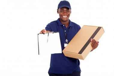 african american delivery man carrying parcel and presenting receiving form