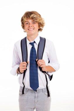 High school teen boy portrait isolated on white