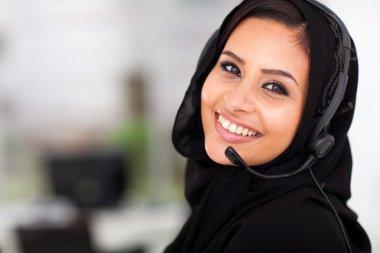 Pretty Arabian call center operator